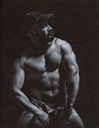 Male Nude Drawings - Oscuro 8 by Chris  Lopez