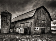Old Barn Posters - Oslo Corner in Black and White Poster by Thomas Young