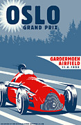 Motors Framed Prints - OSLO Grand Prix 1950 Framed Print by Nomad Art And  Design