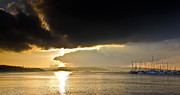 Sunset Seascape Framed Prints - Oslo Harbor Sunset Framed Print by Aaron S Bedell