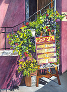 Baskets Drawings - Osteria Roma by Carol Wisniewski