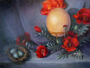 Sharen AK Harris - Ostrich Egg and Poppies