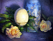 Formal Flower Paintings - Ostrich Egg and Roses by Sharen AK Harris