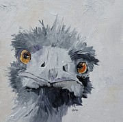 Ostrich Painting Framed Prints - Ostrich Framed Print by Saundra Lane Galloway