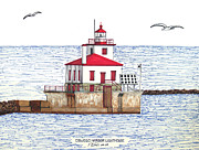 Harbor Drawings Originals - Oswego Harbor Lighthouse by Frederic Kohli