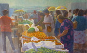 Terry Perham Art - Otara Market. Auckland NZ. by Terry Perham