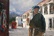 Tibet Painting Prints - Other side of mountains Print by Victoria Kharchenko