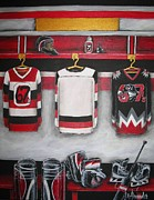 Hockey Painting Posters - Ottawa 67s Goalie Locker Room Poster by Jill Alexander