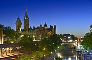 Night Lamp Prints - Ottawa Downtown Dusk Print by Tony Beck
