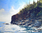 Maine Seacoast Paintings - Otter Point by William Beaupre