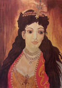 Red Eyes Pastels Posters - Ottoman Princess 18th century Poster by Serran Dalmak