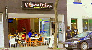 Bistro Paintings - Ouefrier Montreal Breakfast Brunch Resto La Place Du Dejeuner Paris Style Sidewalk Cafe Scene   by Carole Spandau