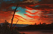 Star Spangled Banner Painting Metal Prints - Our Banner In The Sky Metal Print by Pg Reproductions