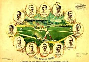 Team Mixed Media Metal Prints - Our Baseball Heroes Metal Print by Pg Reproductions