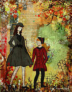 Janelle Nichol Posters - Our Best Memories  Autumn Days Mixed Media Folk artwork Poster by Janelle Nichol