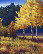 Aspen Trees Pastels Prints - Our Brilliant Fall Print by Marjie EakinPetty