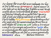 Calligraphy Posters - Our Deepest Fear Poster by Sondra Venable
