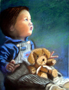 Child With Teddy Bear Framed Prints - Our Grandson Framed Print by Lamarr Kramer