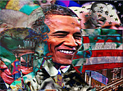Barack Obama Mixed Media Framed Prints - Our Journey Is Not Complete Framed Print by Lynda Payton