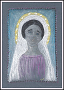 Virgin Mary Pastels Posters - Our Lady Poster by Lyn Blore Dufty