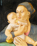 Child Jesus Paintings - Our Lady nursing the Child by Andrea Vandoni