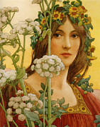 Elizabeth Digital Art - Our Lady of Cow Parsley by Elisabeth Sonrel