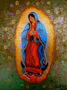 Virgen De  Guadalupe Art Framed Prints - Our Lady of Guadalupe Framed Print by Fanny Diaz