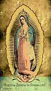 Virgen Mary Framed Prints - Our Lady of Guadalupe Metallic Gold Framed Print by David Reyna