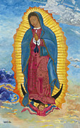 Crucifix Paintings - Our Lady of Guadalupe-New Dawn by Mark Robbins