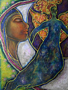 Visionary Artist Painting Posters - Our Lady of Moonlit Mysteries Poster by Marie Howell Gallery