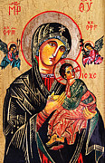 Child Jesus Painting Originals - Our Lady of Perpetual Help Icon by Ryszard Sleczka