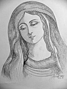Religious Art Drawings - Our lady of Sorrows by Fanny Diaz