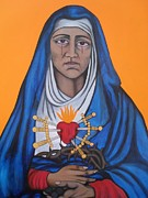 Virgen Mary Framed Prints - Our Lady of Sorrows Framed Print by Jane Madrigal