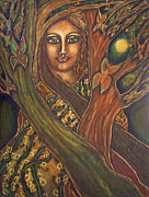 Contemporary Symbolist Painting Prints - Our Lady of the Shimmering Wildwood Print by Marie Howell Gallery