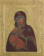 Egg Tempera Paintings - Our Lady Vladimir  by Ilse Wefers