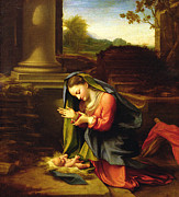 Madonna Prints - Our Lady Worshipping the Child Print by Correggio