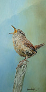 Wren Painting Framed Prints - Our Little Wren Framed Print by Erna Goudbeek