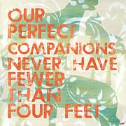 Aqua Posters - Our Perfect Companion Poster by Debbie DeWitt