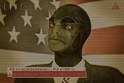 World Leader Digital Art Prints - Our President is a Reptilian Alien Print by Liam Liberty
