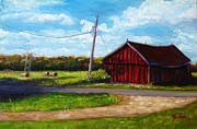 Shed Paintings - Our shed in fall by Bibi Snelderwaard Brion