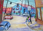 Roads Pastels Posters - Our Town Poster by Lorrie Sniderman