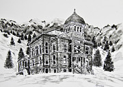 Towns Drawings - Ouray County Courthouse by Judy Sprague