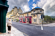 Mark I Posters - Out For A Walk on Pulteney Bridge in Bath England Poster by Mark E Tisdale