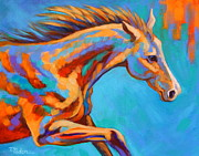Colorful Horse Paintings - Out in Front by Theresa Paden