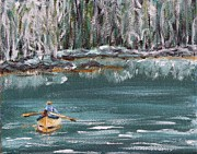 Paddles Paintings - Out in the Dory by Donna Muller