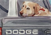 Yellow Lab Paintings - Out of Dodge by Molly Poole