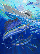 Striped Marlin Paintings - Out Of Sight by Carey Chen