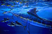 Black Marlin Painting Framed Prints - Out of the blue Framed Print by Carey Chen