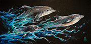 Bottle-nosed Dolphin Painting Posters - Out of the Blue Poster by Marco Antonio Aguilar