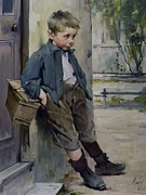 Full-length Portrait Painting Prints - Out of the Game Print by Henri Jules Jean Geoffroy